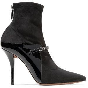 Feminine patent-leather & stretch-suede sock boots